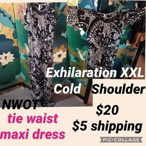 NWOT cold shoulder maxi dress, drawstring waist fl